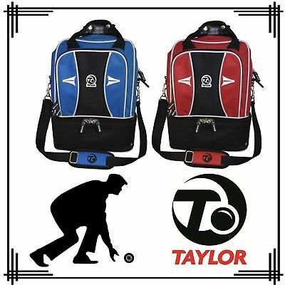 New Taylor Double Decker Bowling Carry Shoulder Bag Blue / Red Hold 2 Bowls