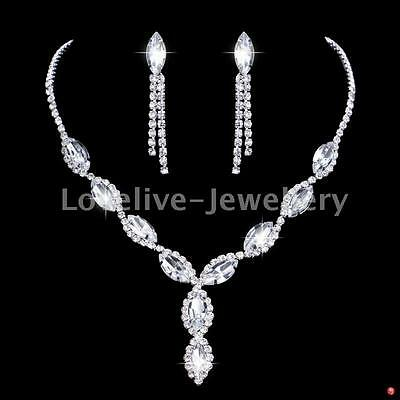Luxury Bridal Jewelry Set Diamante Silver Crystal Necklace Earrings Wedding Prom