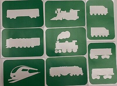 Pack of 8 Train-1 body art stencils adhesive backed vinyl glitter
