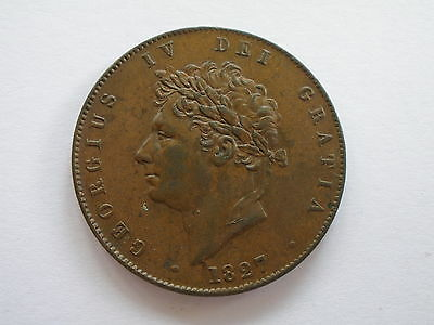 1827 GEORGE IV HALFPENNY - NEF - lustre - UK POST FREE