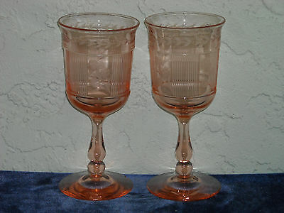 Set of 2 Heisey Pleat and Panel Tall Water Goblets w/ WC Etching  Flamingo Pink