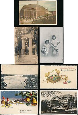 FINLAND PPCs 1920s to 1940s VARIOUS FRANKINGS...7 ITEMS