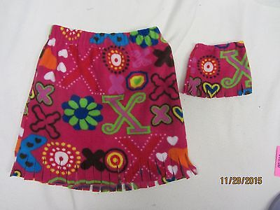 """Matching skirts for 18"""" doll American Girl & child size 7-8  FLOWERS HEARTS XO"""