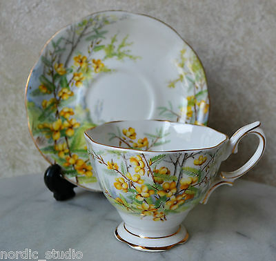TEA CUP TEACUP SAUCER SET Royal Albert English Bone China, PARTRIDGE PEA 1940's
