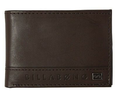 "Brand New + Tags Billabong Mens Boys Pvc Flip Wallet Tri Fold ""vacant"" Brown"