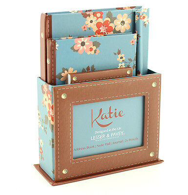 Large Leatherbound Floral Katie Stationary Gift Set Pencils Notebook Address