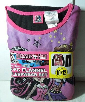 Newest New Girls MONSTER HIGH Flannel Pajamas 2 piece Sleep wear Set Size 10/12
