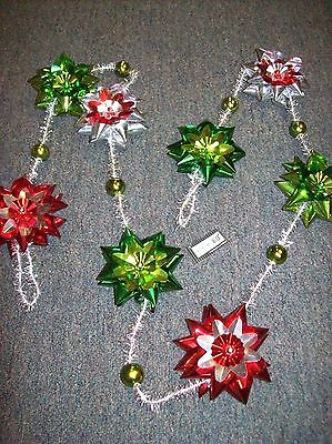 "6' Mylar Flower and Silver Tinsel ""Bow Style"" Garland with Balls"