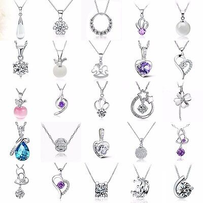 Fashion Women Jewelry 925 Sterling Silver Charm Necklace Pendant Clavicle Chain