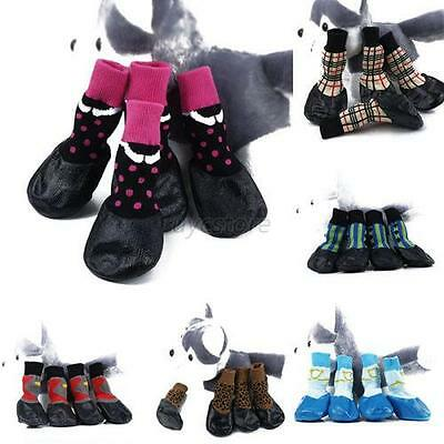 Pet Dogs Puppy Waterproof Rain Shoes Socks Anti-slip Protective Rubber Boots U46