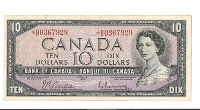 * Asterrisk BC-40bA 1954 bank of CANADA $10. book new  Edition say VF- $150 +