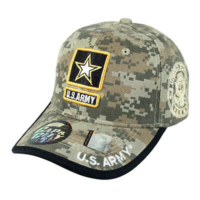 US ARMY STRONG Licensed Seal Military Logo Star Hat Cap Black Camo ... 374c087881da