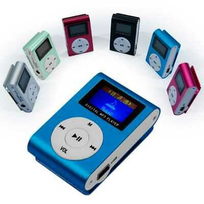 Mini Lettore MP3 Player Clip USB FM Radio LCD Screen Supporta 32GB Micro SD Blu