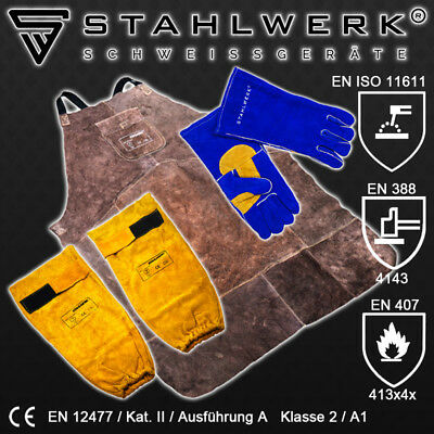 WELDING PROTECTIVE SET - APRON, SLEEVES, GLOVES from DURABLE LEATHER for Welders