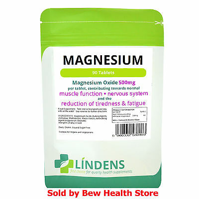 Magnesium Tablets MgO 500mg  (90) - Lindens - Help to Reduce Tiredness & Fatigue