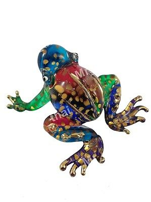 Tiny Crystal Frog Hand Blown Clear Glass Art Figurine Animal Collection #02