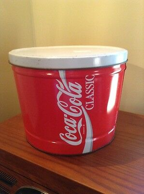 Vintage Coca-Cola Classic Tin Can with Lid