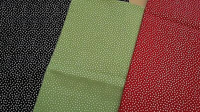 New-FQ to Yard-100% Cotton Fabric-Ditsy Silver Speckles  Design-Red/Green/Black