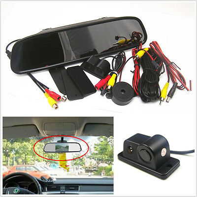 """120°Wide Angle Camera With Reverse Radar + 4.3""""Rearview Mirror Colourful Monitor"""