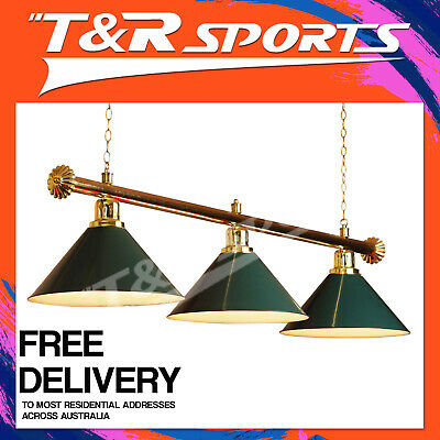 PREMIUM GOLD RAIL + GREEN HEAVY DUTY 3x SHADES POOL TABLE LIGHTS FREE DELIVERY
