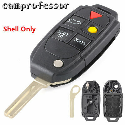 New Uncut Flip Remote Key Shell Case Fob 5Button for VOLVO S60 S80 V70 XC70 XC90