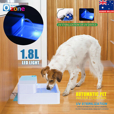LED/UV Automatic Pet Water Drinking Filter Fountain Bowl Dogs Cats Drinker
