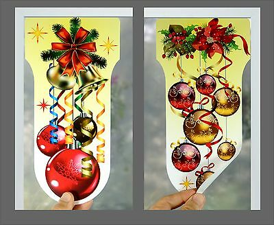 Reusable Christmas Window Decoration Stickers Clings Bauble Balls Ribbon NT Z200