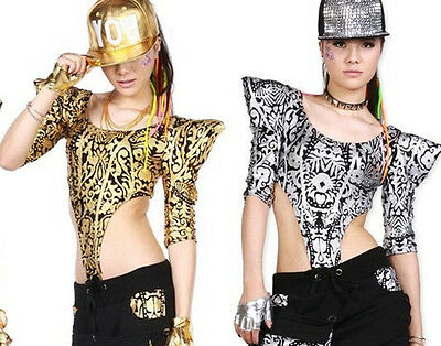 New Women Hip Hop Dance wear Tops Jazz Ds Costumes Hollow out Textured Jumpsuit