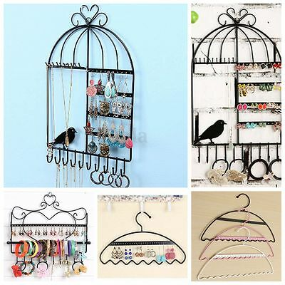 Wall-mounted Metal Stand Rack Earring Necklace Bracelet Holder Jewelry Display