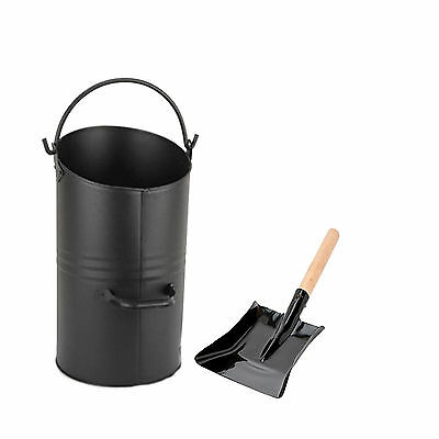 Black Ellipse Coal Scuttle Hod Shovel With Wooden Handle Fireplace Fireside