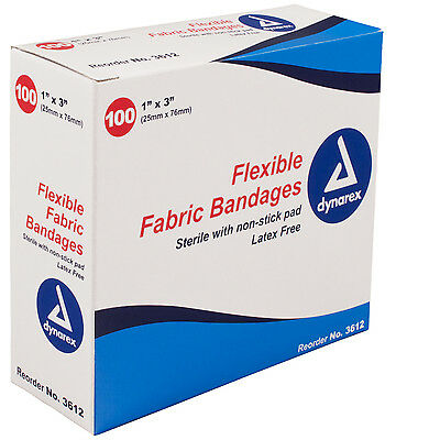 "Sterile Fabric Bandages 1""X3"" - latex free adhesive, box of 100 - band aid"
