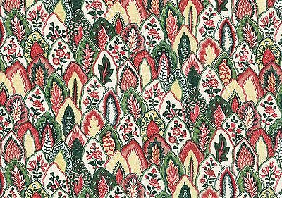 Waverly Fabric Dominique Green Red Gold Off White Cotton Drapery Upholstery