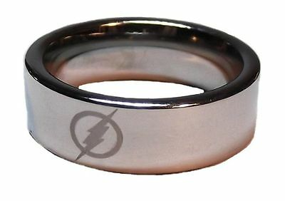 DC Comics THE FLASH Logo Stainless Steel BAND RING - Men's Size 8