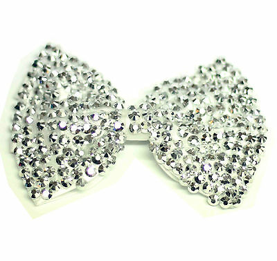 Girls Ladies Fashion Crystal Hair Bow Hair Clip Large - White With Silver Stones