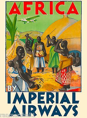 Africa By Imperial Airways Vintage African Travel Advertisement Poster
