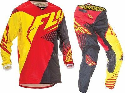 Fly Racing Kinetic Vector Red Yellow Jersey & Pant Combo Set Riding Gear MX 2016