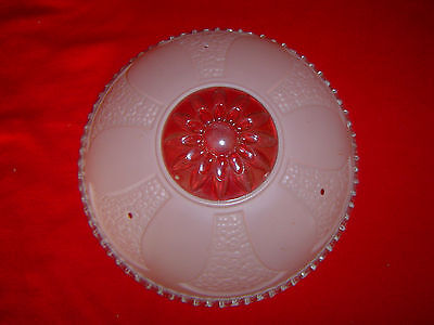 Vintage Antique Art Deco Domed Ceiling Light Pink Shade - Very nice