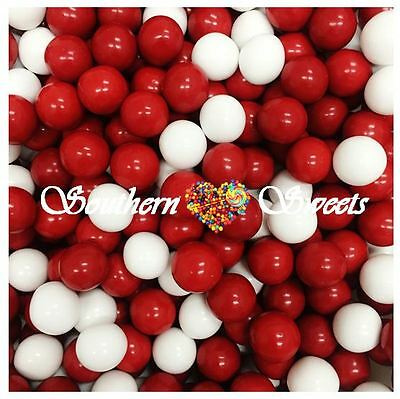 Red White Chocolate Balls 1Kg Crunchy Red & White Lollies Choc Centre