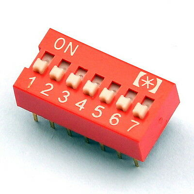 10x  7 Way DIP Switch, 7 Position 14 pin PCB Mountable