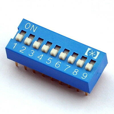 10x  9 Way DIP Switch, 9 Position 18 pin PCB Mountable