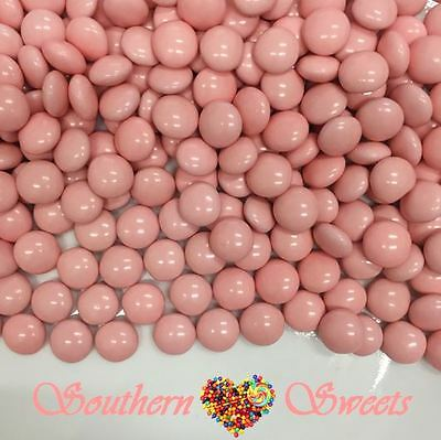 Pink Choc Buttons 1Kg Crunchy Chocolate Drops Beanies Baby Pink Lollies Candy