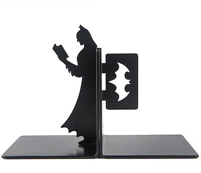 Cool Reinforced Steel Book Stand Super Hero Dark Knight Batman Bookends One Set