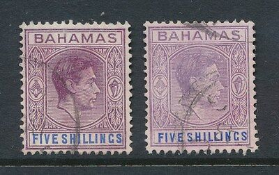 Bahamas Kg6 1938 Five Shillings Purple + Blue...used...2 Different Shades