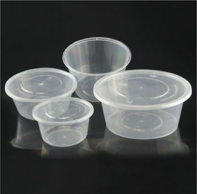 Round Food Containers Plastic Clear Storage Tubs & Lids Deli Pots 2/4/8/12/16OZ