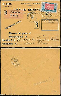 French West Africa 1928 Ivory Coast Registered Official Valeurs Recouvre Env