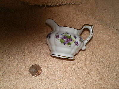 Lefton Tiny Pitcher w/Purple Flowers & Gold Trim