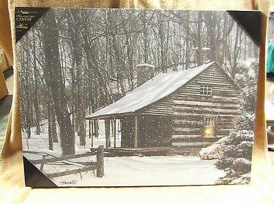 Snow Capped Log Cabin Woods Lighted Canvas Wall Decor Sign Winter Lights Up