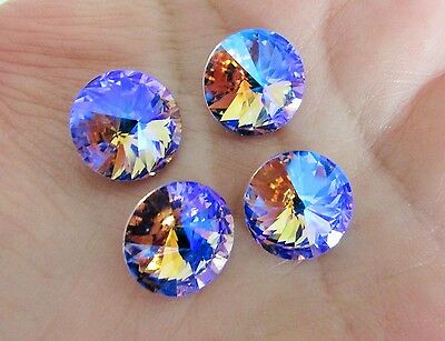 4 pcs 14mm Chaton Crystal Glass Fancy Stone Cabochon Pointed Back Violet AB