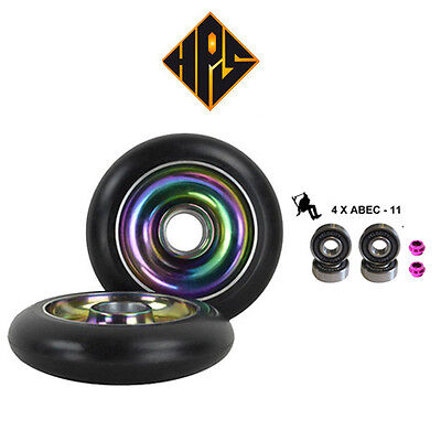 1 pair pro scooter wheels metal core green cyclone 110mm 88a abec 11 bearings
