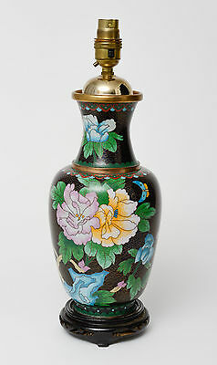 Chinese Cloud Ground & Black Enamel Cloisonne Lamp Base with Flowers & Butterfly